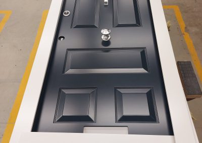 Victorian style Munitus Security front door with transom