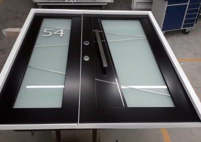 double security doors with mat glass