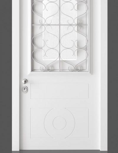 Munitus security doors with metal window grating