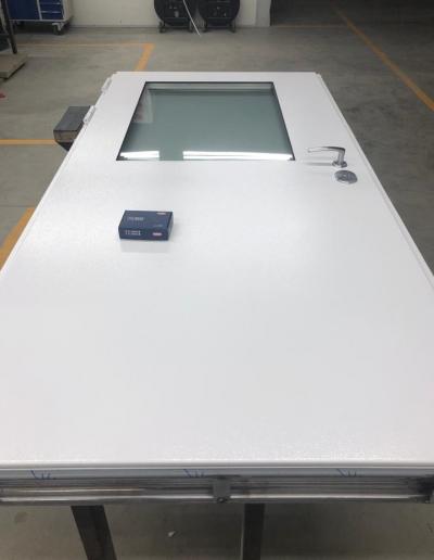 Munitus security door with steel panels and mat glass