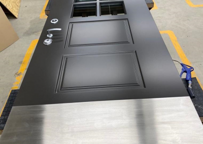 Danish style security front door with BR4 glass, electronic lock and kick plate