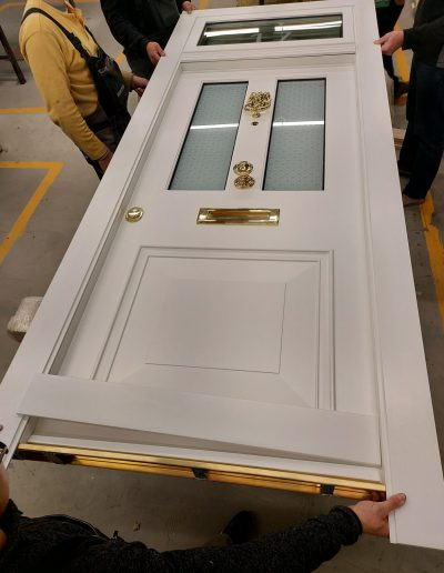 Victorian style security doors with glasses and transom