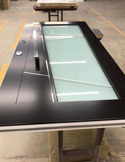Munitus security door, modern design with mat glass and electronic lock