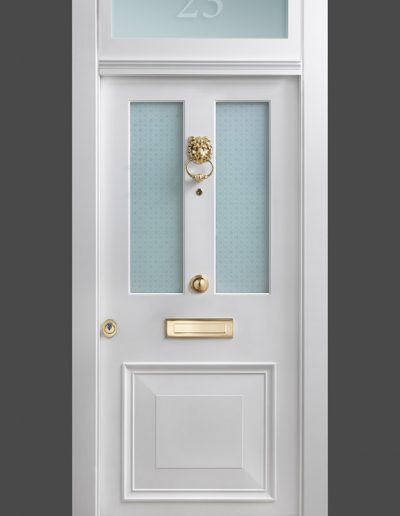 Victorian style Munitus front security door with glass