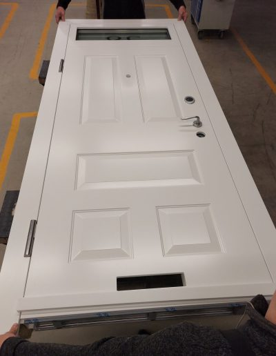 Security door with transom electronic lock and glass