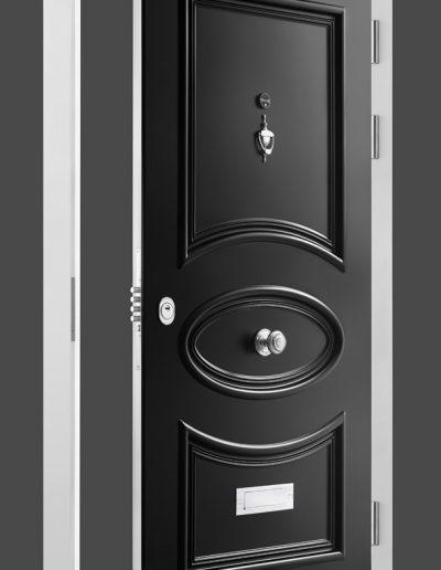 Victorian style Munitus black front security door with baguettes.