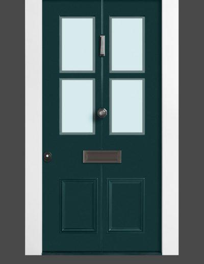 Victorian style Munitus security door with glass P6B