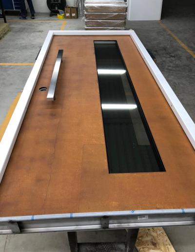 security doors with Corten steel panel
