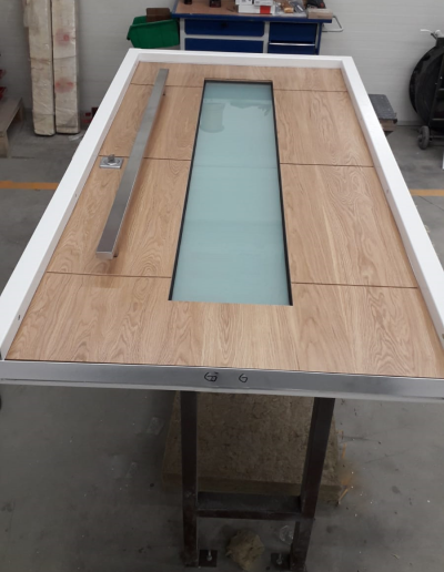 security door with oak finishing panel and with glass