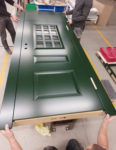 Muitus security door with glass and transom. Danish style