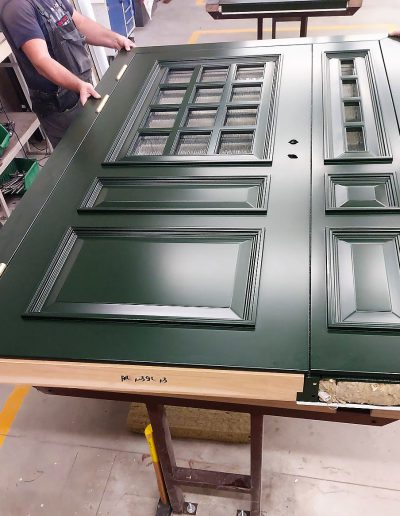 Munitus Danish style Double security door with wawed glass