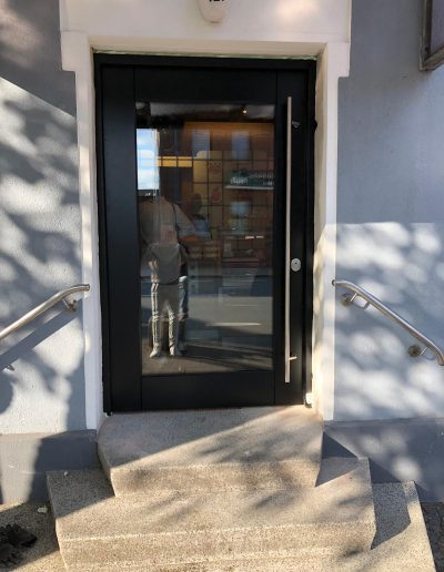 Security front door with glass installed in Germany