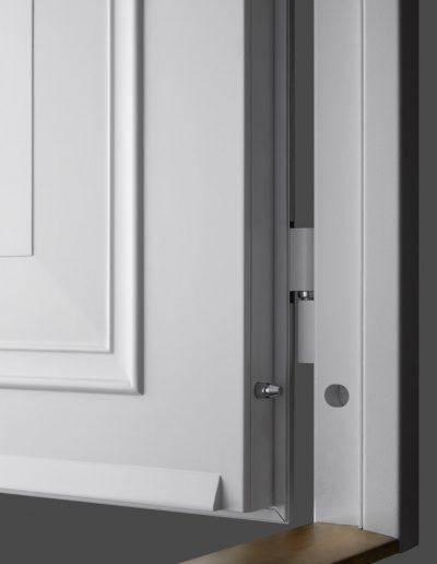 Victorian style Munitis custom made security door with oak threshold