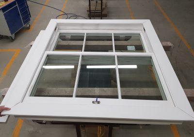 Security sash window with panels prepared for painting #bulletproofwindowsBR6 #BR4securitysashwindows