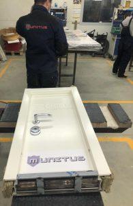 Bullet-proof test door FB6 in Munitus factory assembly shop.
