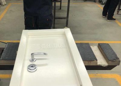 Ballistic resistant test door in Munitus factory ready for tests in NTS lab