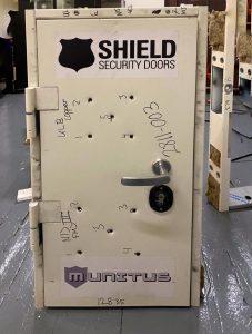Munitus FE15 FB6 ballistic resistance test door after the tests - front side.