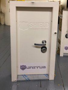 Munitus FE5 FB4 ballistic resistance test door after the tests – backside.