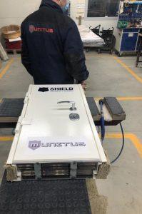 Bullet-proof test door FB4 in Munitus factory assembly.